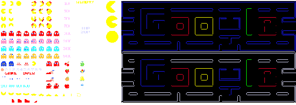 Google Top Page Logo Pacman CSS Sprite image